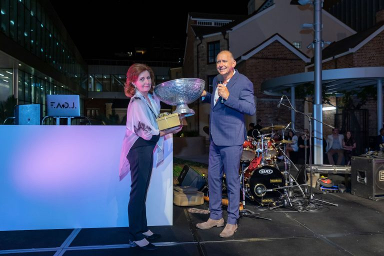 Jenny Allen and Peter Rowsthorn draw the raffle